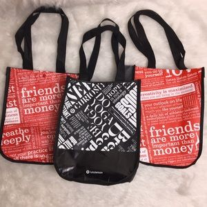 3 black and red lululemon reusable tote bags